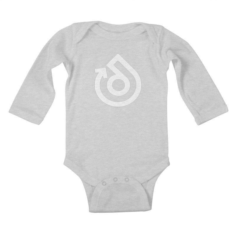 white logo only Kids Baby Longsleeve Bodysuit by direction.church gear