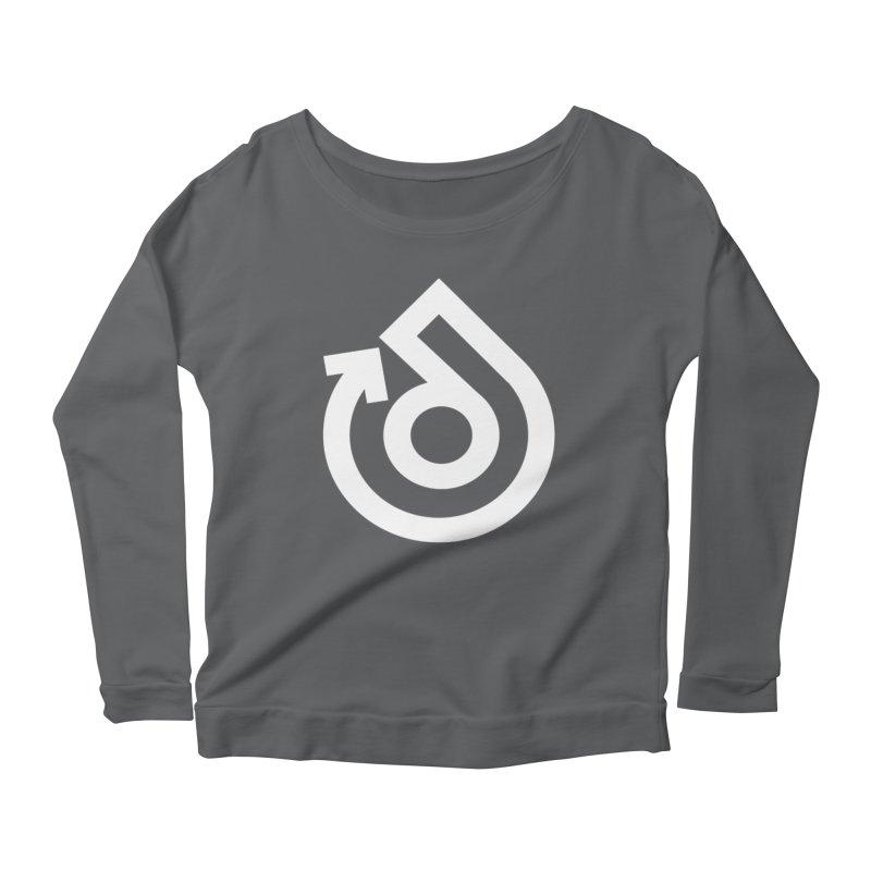 white logo only Women's Scoop Neck Longsleeve T-Shirt by direction.church gear