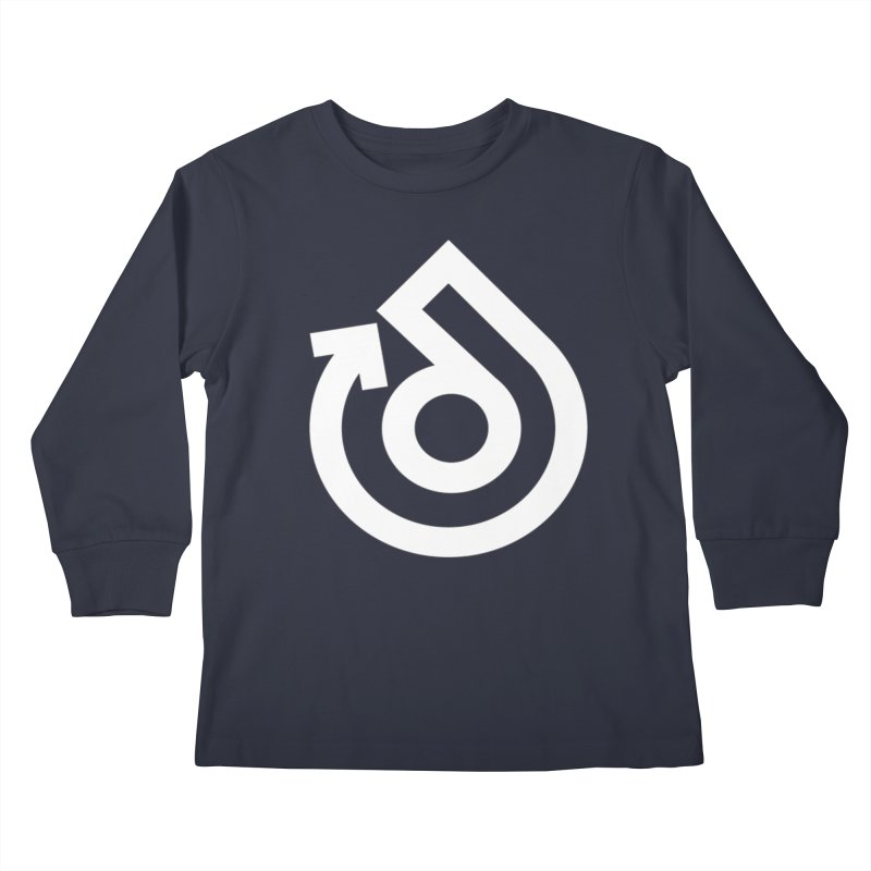 white logo only Kids Longsleeve T-Shirt by direction.church gear