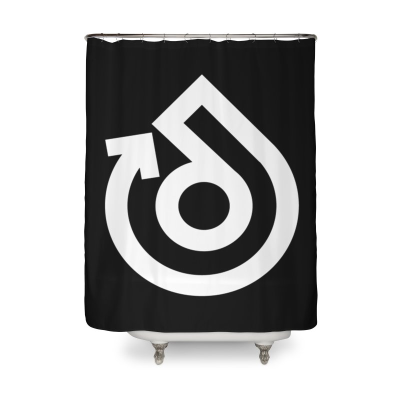 white logo only Home Shower Curtain by direction.church gear