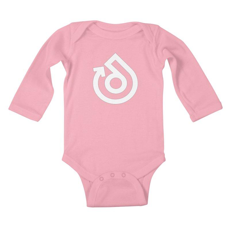 white logo only Kids Baby Longsleeve Bodysuit by direction.church gear