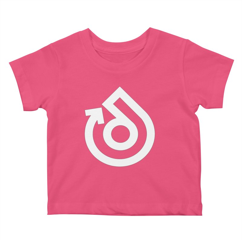 white logo only Kids Baby T-Shirt by direction.church gear