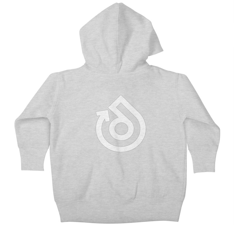 white logo only Kids Baby Zip-Up Hoody by direction.church gear