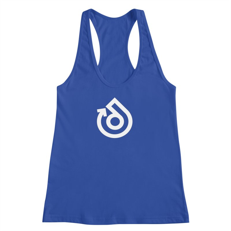 white logo only Women's Racerback Tank by direction.church gear