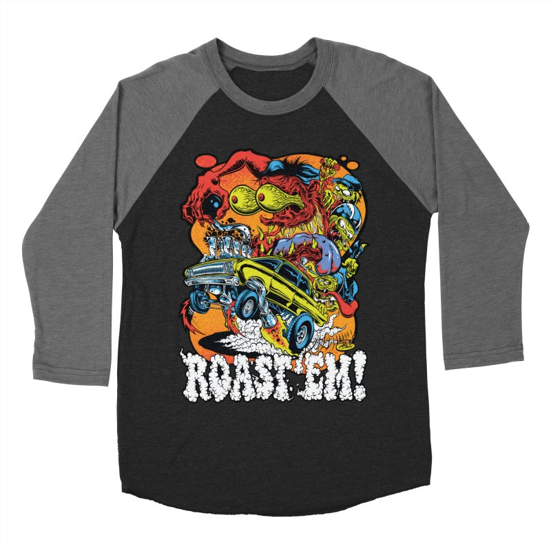 Roast 'em Women's Baseball Triblend Longsleeve T-Shirt by Dirty Donny's Apparel Shop