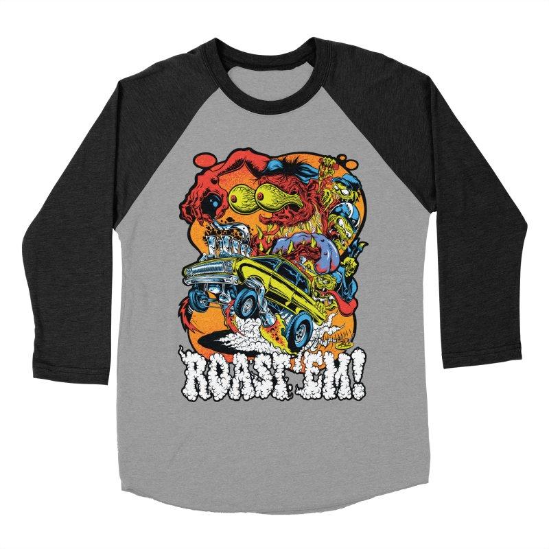 Roast 'em Women's Baseball Triblend Longsleeve T-Shirt by Dirty Donny's Apparel Shop