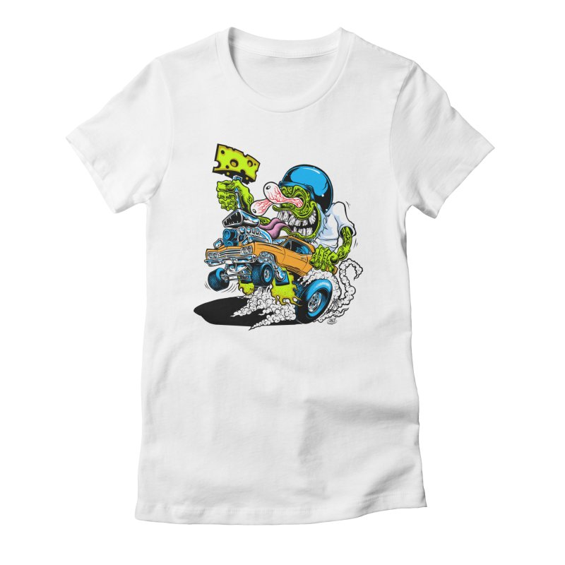 Cheese Runner Women's Fitted T-Shirt by Dirty Donny's Apparel Shop