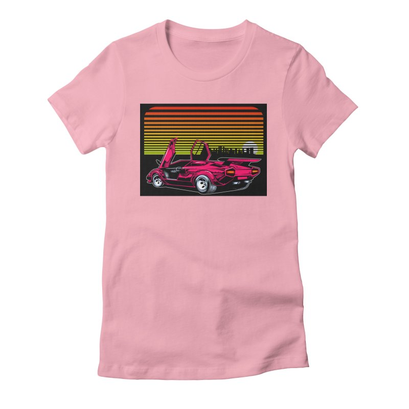 Miami nights Women's Fitted T-Shirt by Dirty Donny's Apparel Shop