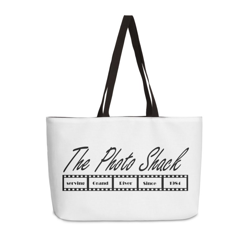 The Photo Shack Black Accessories Weekender Bag Bag by disonia's Artist Shop