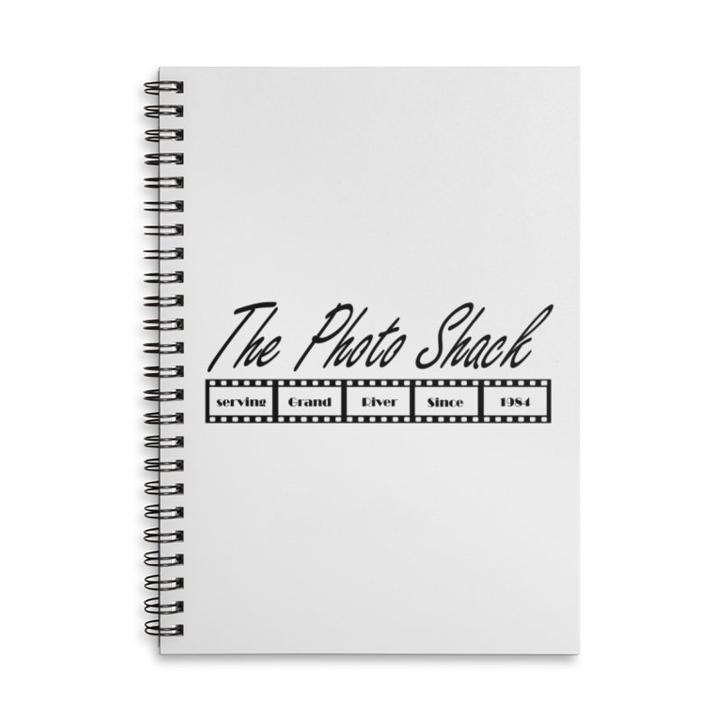 The Photo Shack Black Accessories Lined Spiral Notebook by disonia's Artist Shop