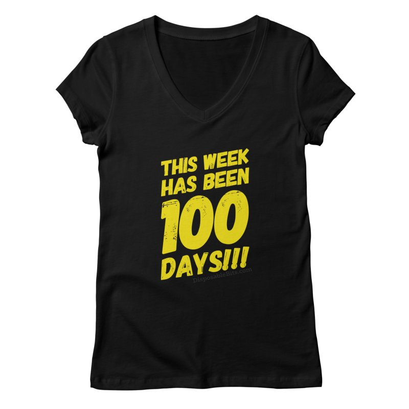 100 Days Women's V-Neck by Disposable Bits's Shop