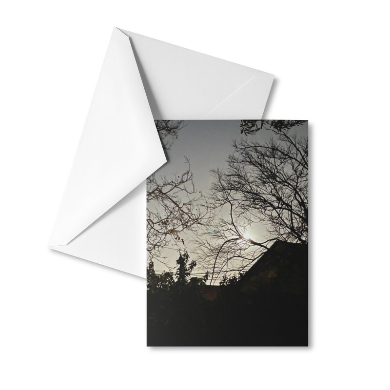 Moon through trees Accessories Greeting Card by Disposable Bits's Shop