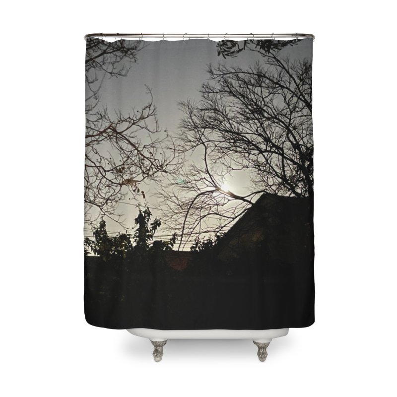 Moon through trees Home Shower Curtain by Disposable Bits's Shop