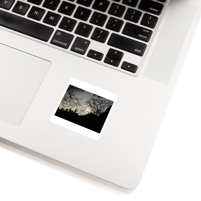 Moon through trees Accessories Sticker by Disposable Bits's Shop