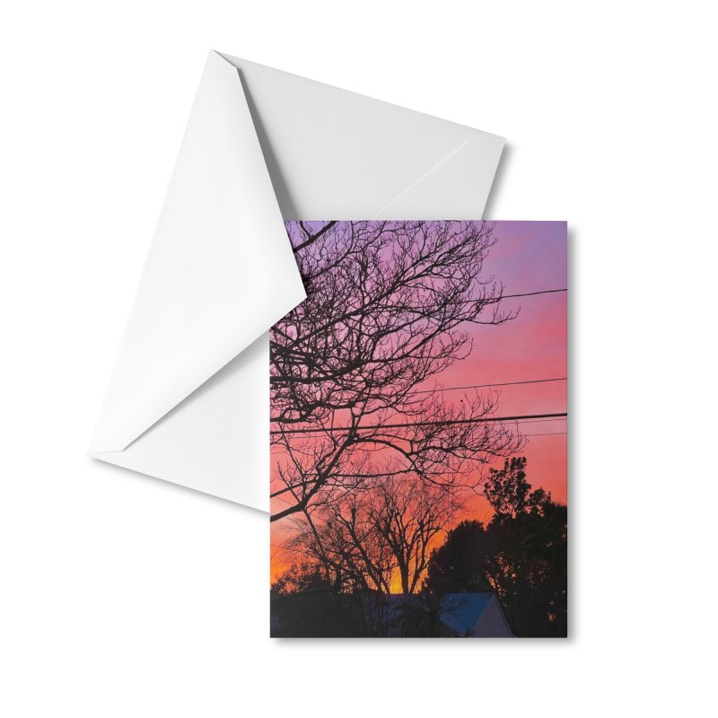 Sunset through trees Accessories Greeting Card by Disposable Bits's Shop