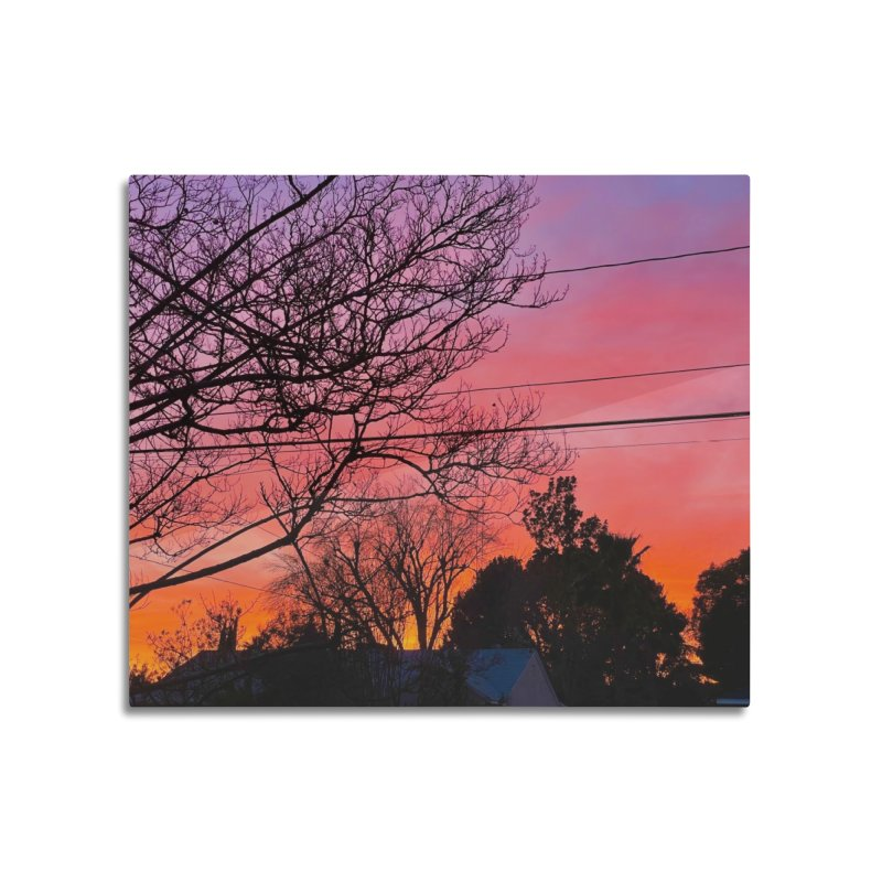 Sunset through trees Home Mounted Aluminum Print by Disposable Bits's Shop