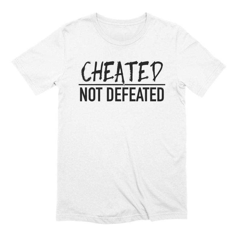 Cheated Not Defeated - Black Logo in Men's Extra Soft T-Shirt White by
