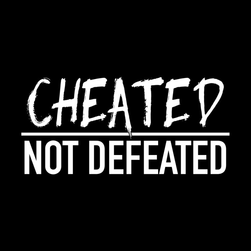 Cheated Not Defeated - White Logo Men's T-Shirt by