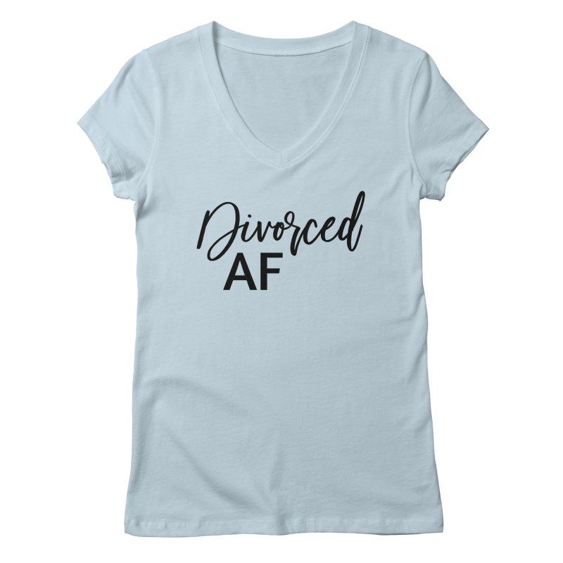 Divorced AF 2 - Black Logo Women's V-Neck by