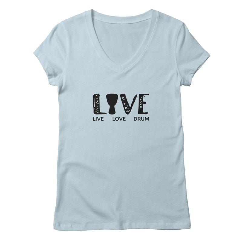 Live・Love・Drum Women's Regular V-Neck by DJEMBEFOLEY Shop