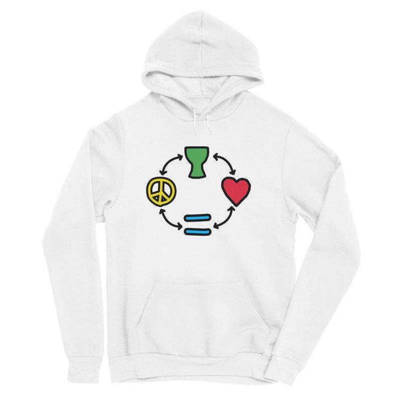 Djembe: Peace, Love, Equality Men's Sponge Fleece Pullover Hoody by DJEMBEFOLEY Shop