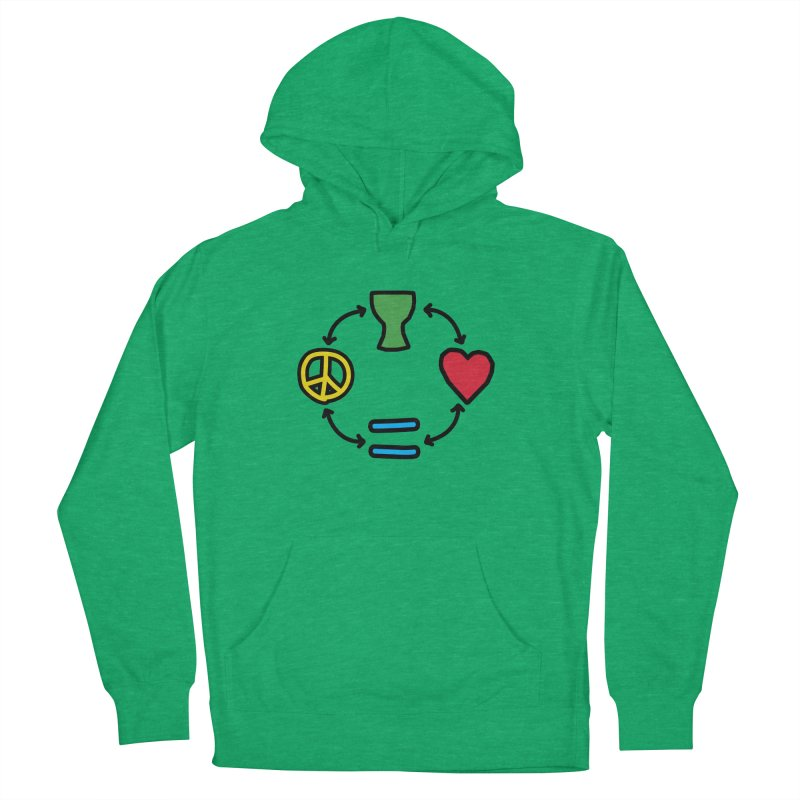 Djembe: Peace, Love, Equality Men's French Terry Pullover Hoody by DJEMBEFOLEY Shop