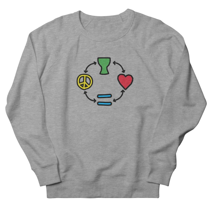 Djembe: Peace, Love, Equality Women's French Terry Sweatshirt by DJEMBEFOLEY Shop