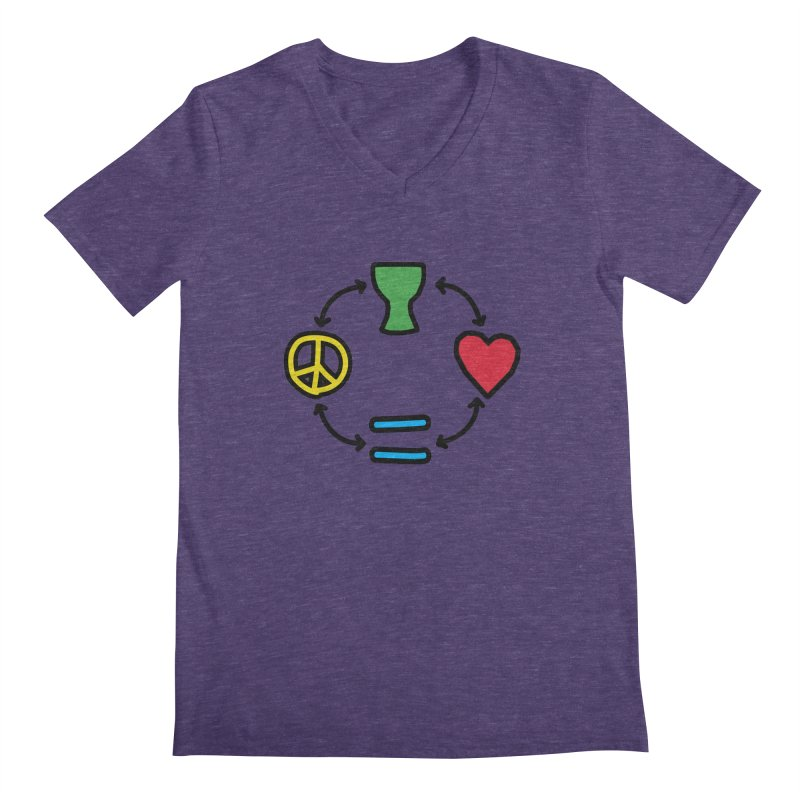 Djembe: Peace, Love, Equality Men's V-Neck by DJEMBEFOLEY Shop