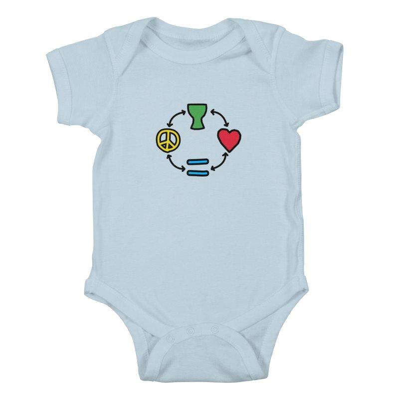 Djembe: Peace, Love, Equality Kids Baby Bodysuit by DJEMBEFOLEY Shop