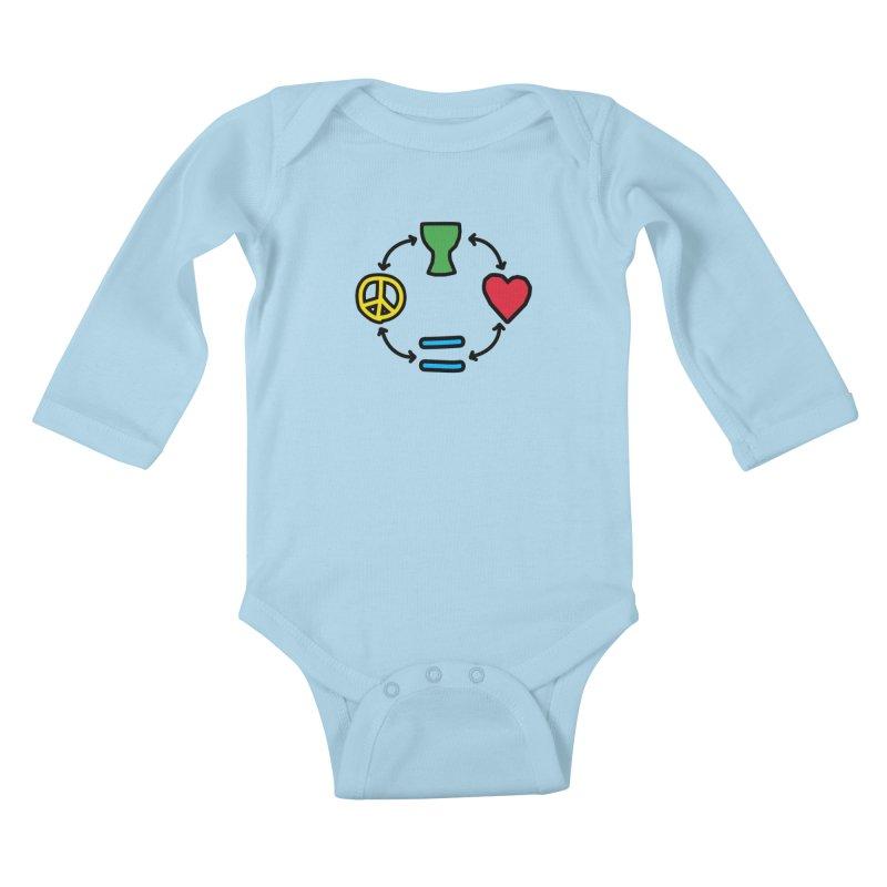 Djembe: Peace, Love, Equality Kids Baby Longsleeve Bodysuit by DJEMBEFOLEY Shop