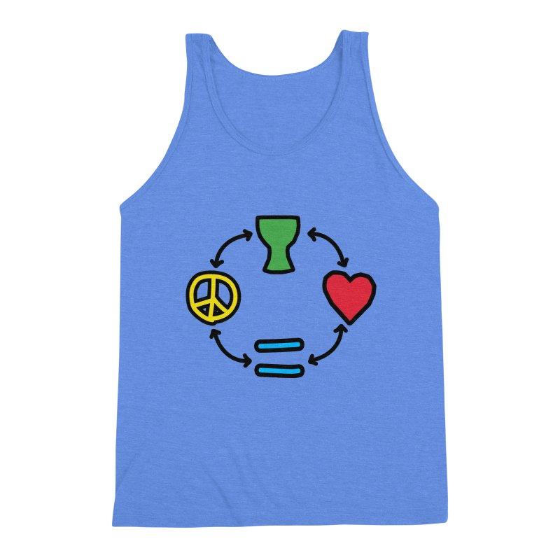 Djembe: Peace, Love, Equality Men's Triblend Tank by DJEMBEFOLEY Shop