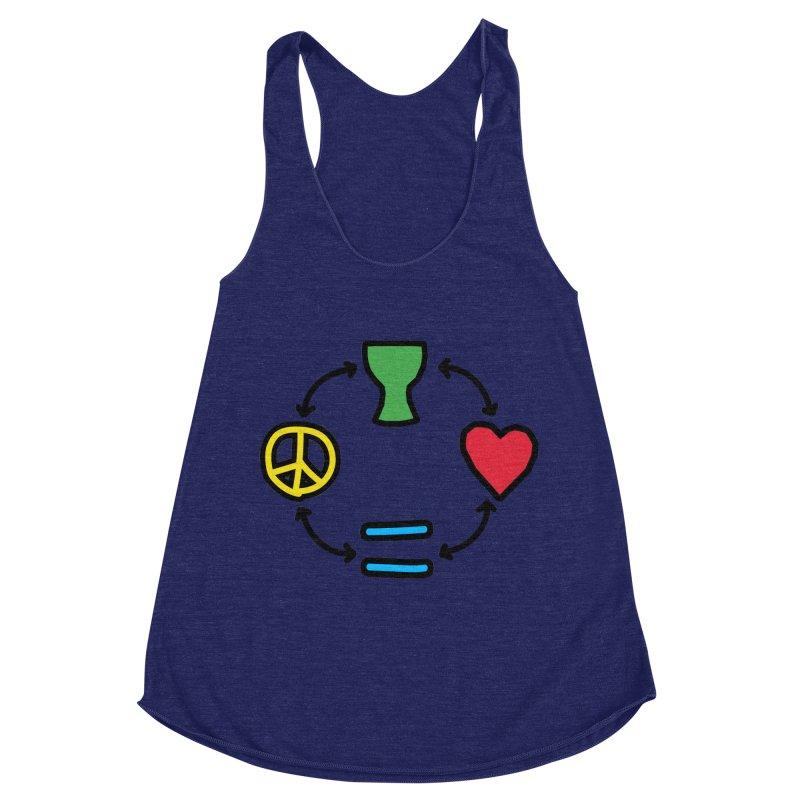Djembe: Peace, Love, Equality Women's Racerback Triblend Tank by DJEMBEFOLEY Shop