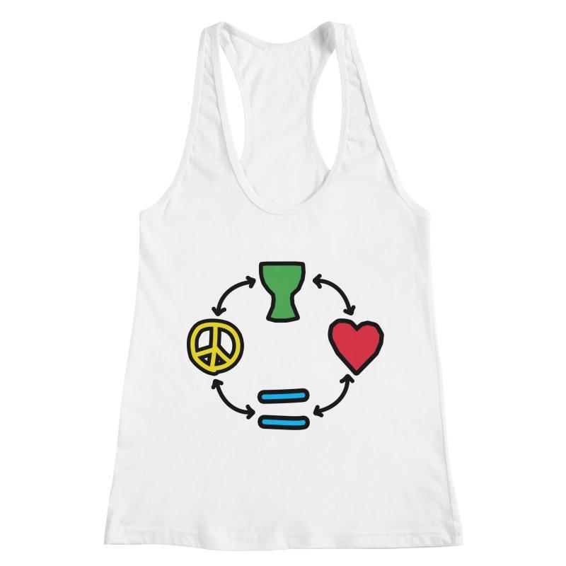 Djembe: Peace, Love, Equality Women's Racerback Tank by DJEMBEFOLEY Shop