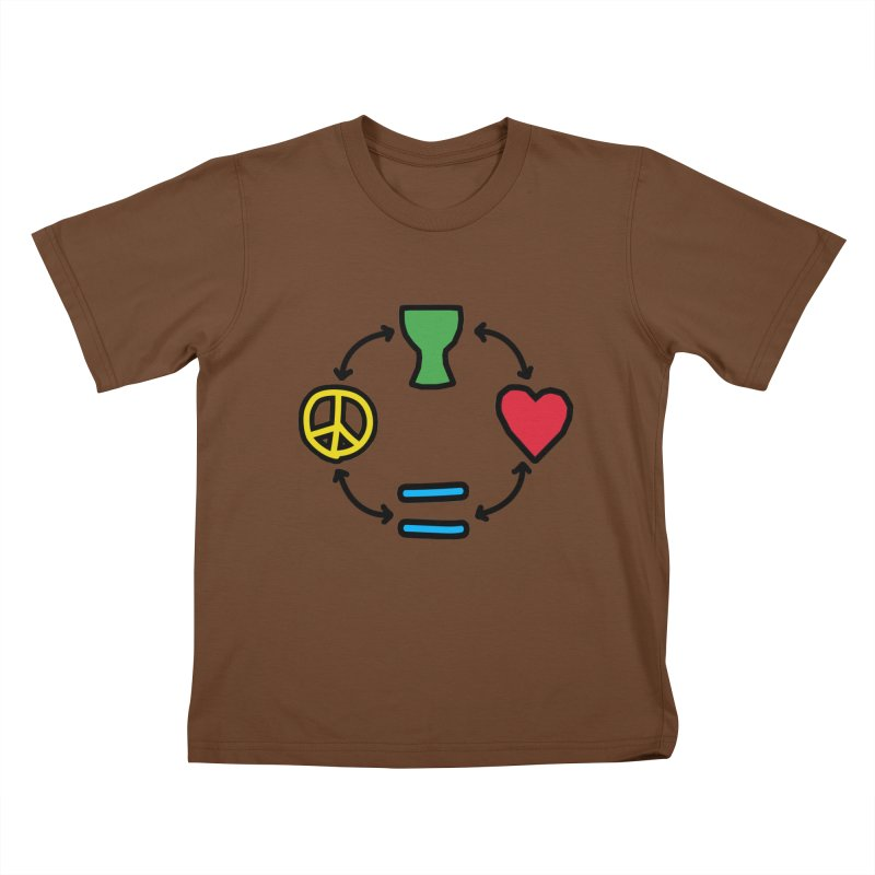 Djembe: Peace, Love, Equality Kids T-Shirt by DJEMBEFOLEY Shop