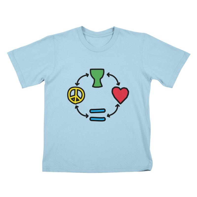 Djembe: Peace, Love, Equality Kids T-Shirt by DJEMBEFOLEY Shop