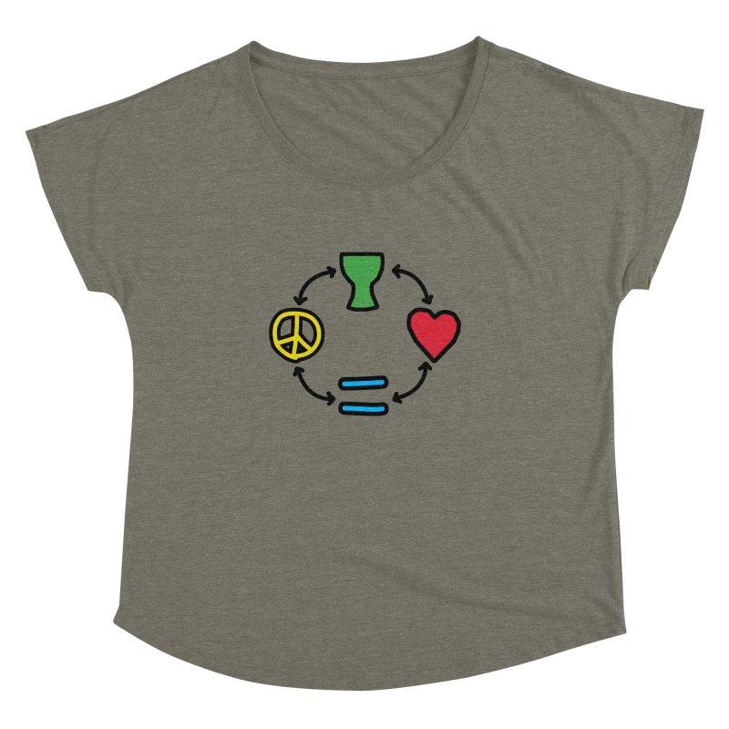 Djembe: Peace, Love, Equality Women's Dolman Scoop Neck by DJEMBEFOLEY Shop