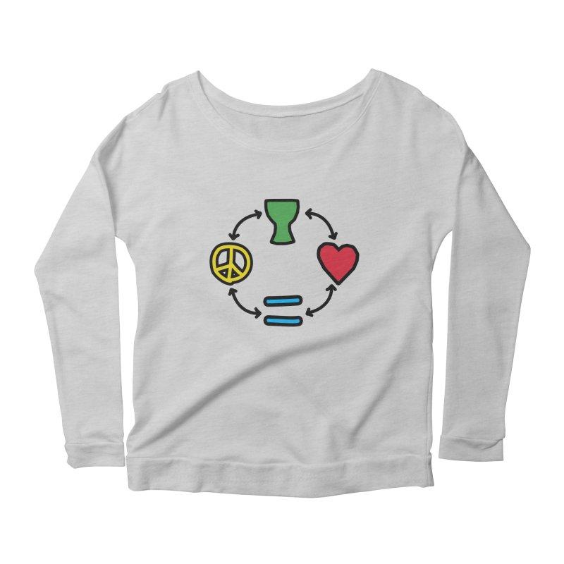 Djembe: Peace, Love, Equality Women's Scoop Neck Longsleeve T-Shirt by DJEMBEFOLEY Shop
