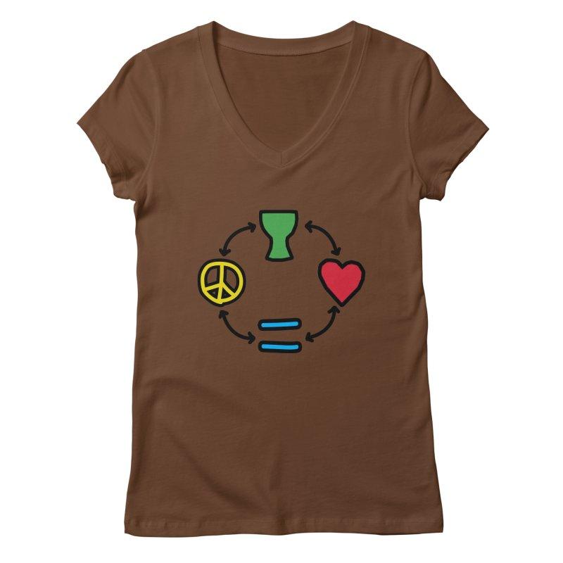 Djembe: Peace, Love, Equality Women's Regular V-Neck by DJEMBEFOLEY Shop