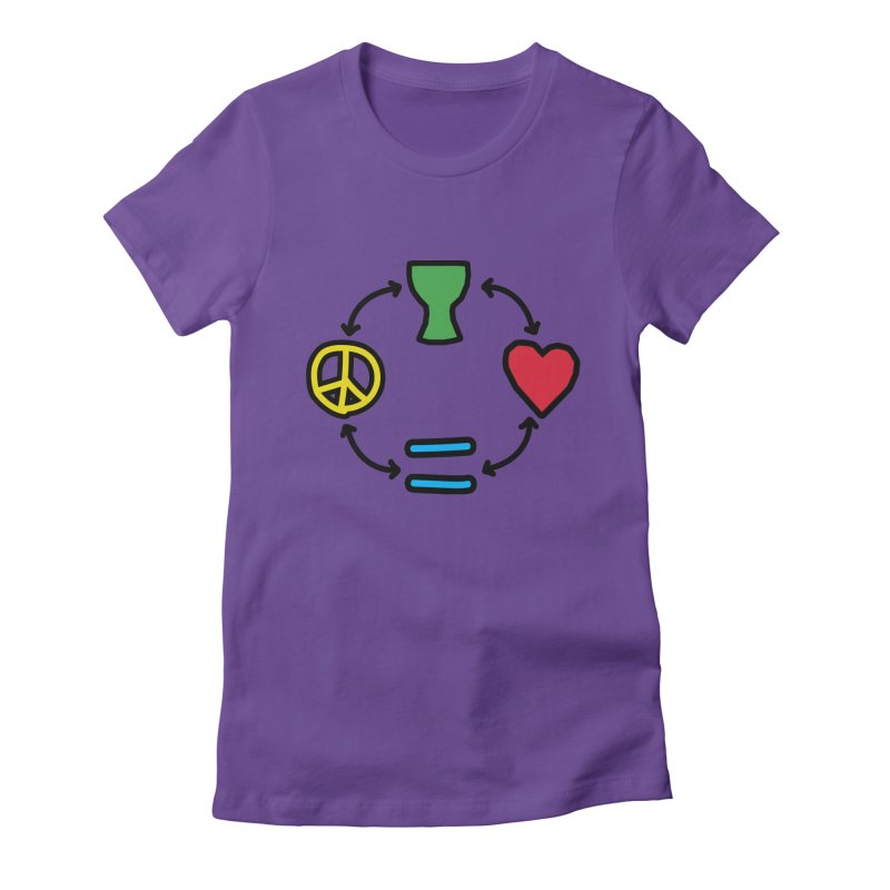 Djembe: Peace, Love, Equality Women's Fitted T-Shirt by DJEMBEFOLEY Shop