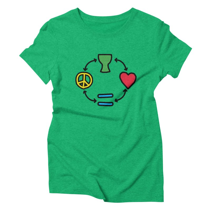 Djembe: Peace, Love, Equality Women's T-Shirt by DJEMBEFOLEY Shop
