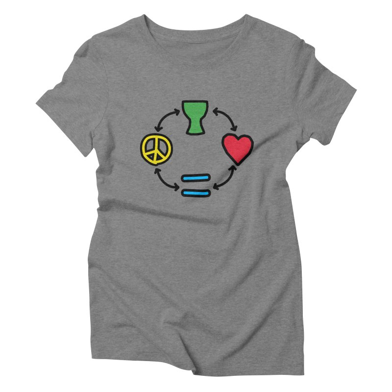 Djembe: Peace, Love, Equality Women's Triblend T-Shirt by DJEMBEFOLEY Shop