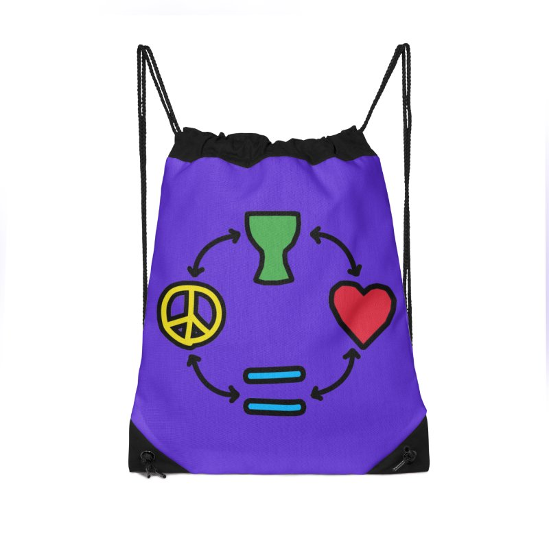 Djembe: Peace, Love, Equality Accessories Drawstring Bag Bag by DJEMBEFOLEY Shop