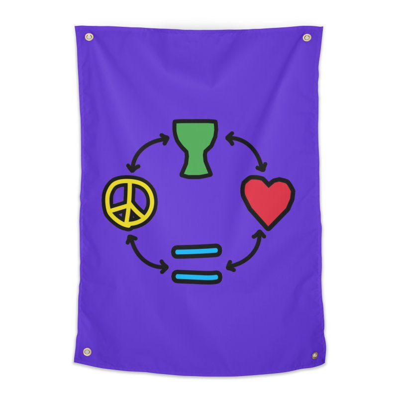 Djembe: Peace, Love, Equality Home Tapestry by DJEMBEFOLEY Shop