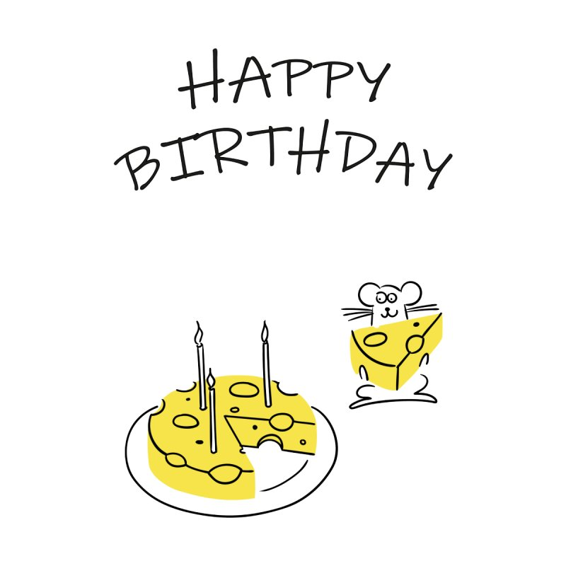 Happy Birthday Little Mouse Accessories Greeting Card by DKR Official Shop