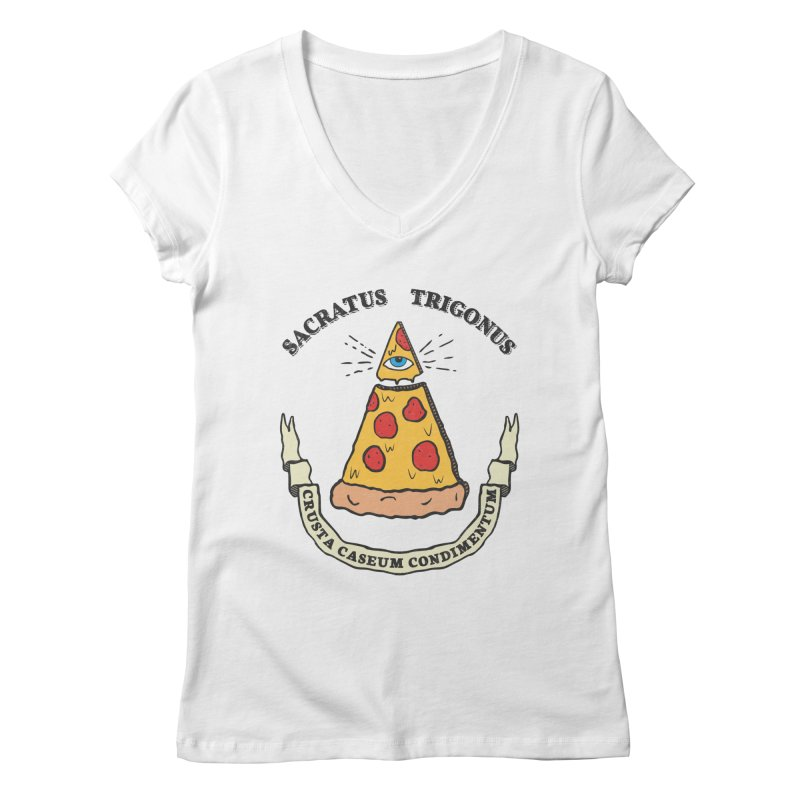 All Seeing Pie Women's Regular V-Neck by Wasabi Snake
