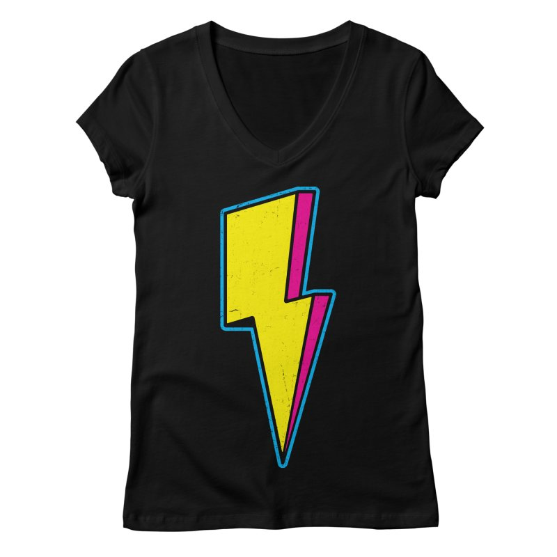 Ride The Lightning Women's Regular V-Neck by Wasabi Snake