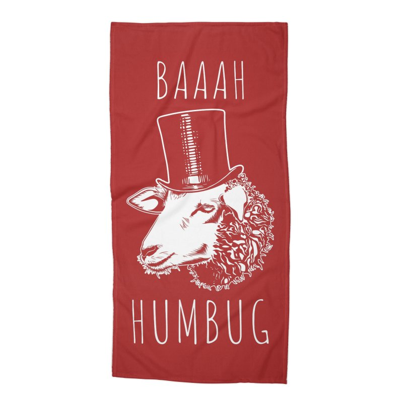 Baaah Humbug Grumpy Holiday Sheep Accessories Beach Towel by Pete Styles' Artist Shop