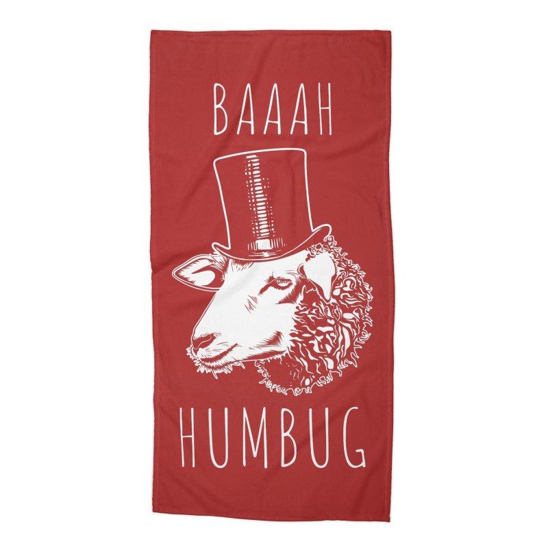 Baaah Humbug Grumpy Holiday Sheep Accessories Beach Towel by Wasabi Snake