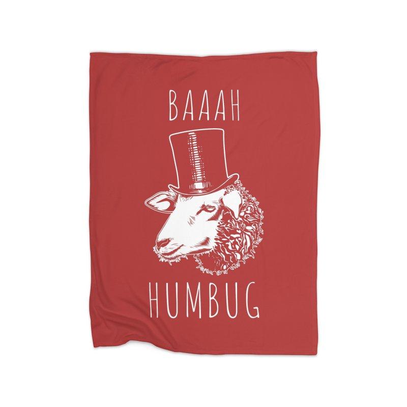 Baaah Humbug Grumpy Holiday Sheep Home Blanket by Wasabi Snake