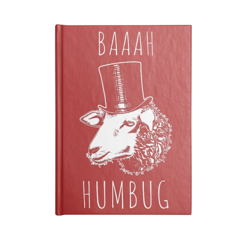 Baaah Humbug Grumpy Holiday Sheep Accessories Lined Journal Notebook by Wasabi Snake